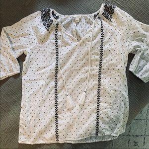 Jcrew peasant top white black XS blouse